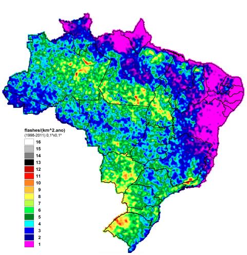 densidade descargas atmosféricas (raios)
